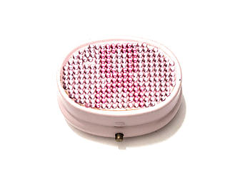 Rhinestone Small Oval Light Up Two Compartment Pill Organizer Case Box ~ Style 636C