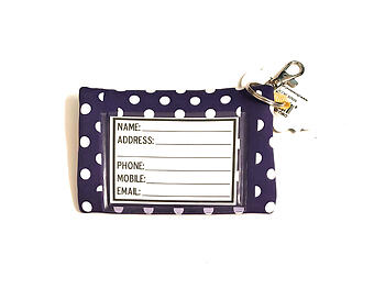 Neoprene Zippered Student ID Case with Key Ring (Purple with Yellow)