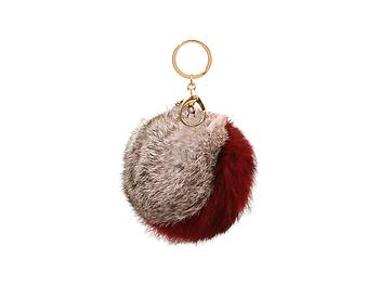 Burgundy and Brown Two Tone Fur Pom Pom Keychain