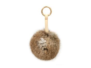 Brown Fur Pom Pom Carabiner Hook Keychain