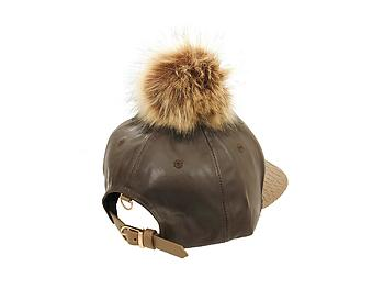 Brown Faux Leather Pom Pom Snapback Baseball Hat Cap w/ Watch Strap Closure