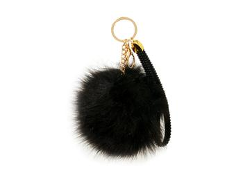 Black Faux Fur Pom Pom and Suede Jeweled Hand Holder Keychain