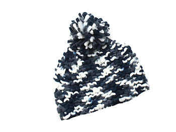 Black and White Woven Knit Pom Pom Beanie