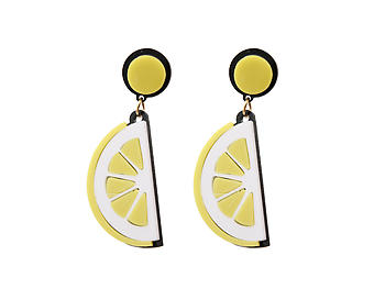 Yellow Lemon Slice Colorful & Fun Acrylic Summer Fashion Drop Earrings