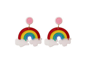 Multicolor Rainbow Colorful & Fun Acrylic Summer Fashion Drop Earrings