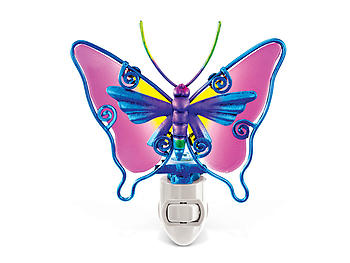 Butterfly Handcraft Art Glass and Metal Decorative Night Light