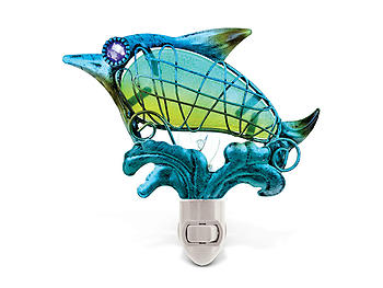 Dolphin Handcraft Art Glass and Metal Decorative Night Light
