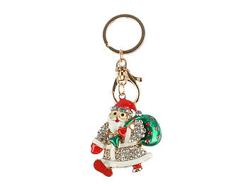 Santa Claus Hollow Textured Metal Key Chain Accessory Handbag Charm