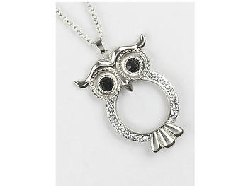 Matte Finish Metal Owl Magnifying Glass Pendant Necklace