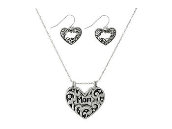 Mom Dainty Heart Locket Pendant Stamped Necklace Set