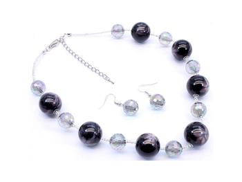 Black Bead Necklace and Earring Set in Rhodium Tone