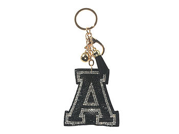 Black Initial A Tassel Bling Faux Suede Stuffed Pillow Key Chain Handbag Charm
