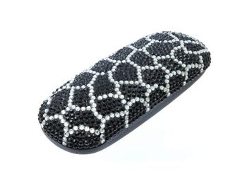 Black Web Design Crystal Stone Sunglass Case