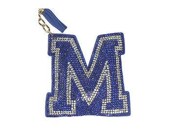 Blue Initial M Tassel Bling Faux Suede Stuffed Pillow Key Chain Handbag Charm