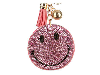 Pink Emoji Tassel Bling Faux Suede Stuffed Pillow Key Chain Handbag Charm