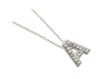 Crystal Stone Paved 'A' Initial Pendant Necklace in Silvertone