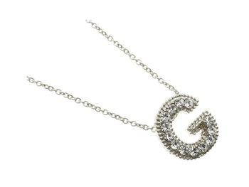 Crystal Stone Paved 'G' Initial Pendant Necklace in Silvertone