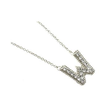 Crystal Stone Paved 'W' Initial Pendant Necklace in Silver Tone