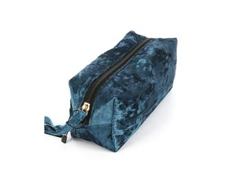 Blue Velvety Feel Makeup Carry All Pouch Bag Accessory