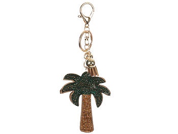 Palmtree Tassel Bling Faux Suede Stuffed Pillow Key Chain Handbag Charm