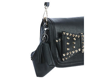 Black Faux Leather Zip Closure Tassel Coin Pouch Keychain