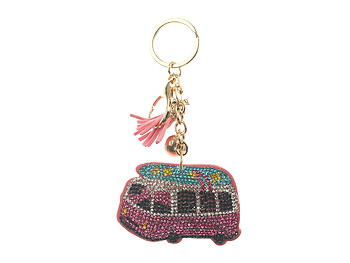 Beach Bus Faux Suede Tassel Stuffed Pillow Key Chain Handbag Charm
