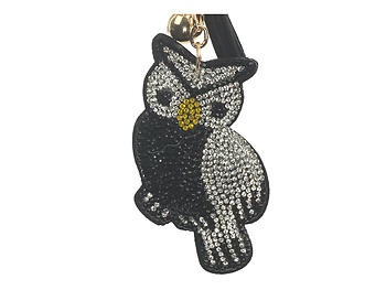 Black Bird Tassel Bling Faux Suede Stuffed Pillow Key Chain Handbag Charm