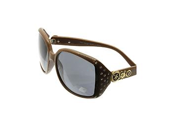 Brown Crystal Stone Studded Wide Lense Sunglasses