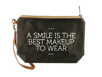 A Smile Message Print Vinyl Carry All Pouch Bag Accessory w/ Wrist Strap
