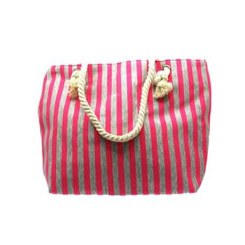 Pink Fabric Striped Tote with Rope Handle Multi Use Bag