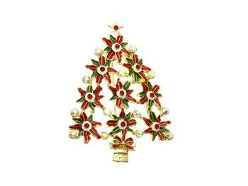 Crystal Stone Christmas Poinsettia Pin and Brooch