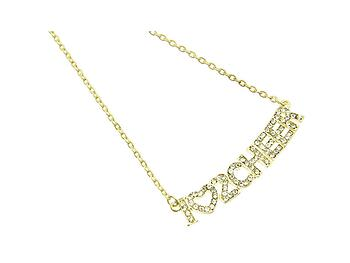 Crystal Stone Paved I Love To Cheer Necklace in Goldtone