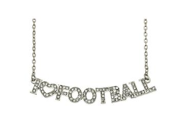 Crystal Stone Paved I Love Football Necklace in Silvertone