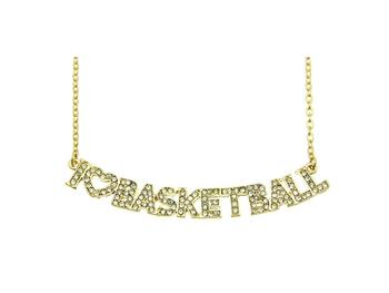 Crystal Stone Paved I Love Basketball Necklace in Goldtone