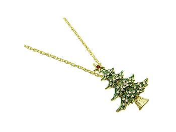 Crystal Stone Christmas Tree Necklace in Goldtone