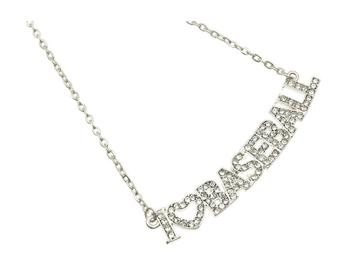 Crystal Stone Paved I Love Baseball Necklace in Silvertone