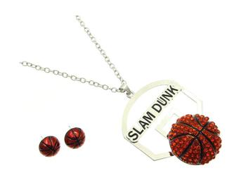 Crystal Stone Paved Slam Dunk Necklace and Earring Set