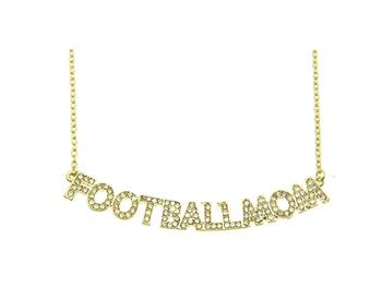 Crystal Stone Paved FOOTBALL MOM Necklace in Goldtone