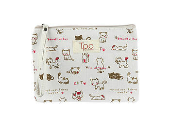 Beige Kitten Print Carry All Pouch Bag Accessory w/ Strap