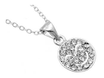 Crystal Stone Happy Face Necklace in Silvertone