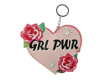 Girl Power Rose Faux Leather Zip Closure Coin Pouch Keychain