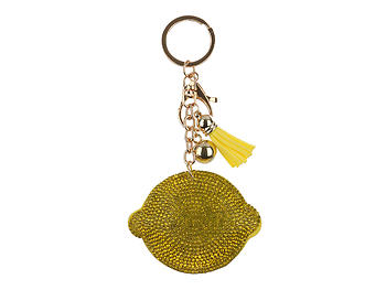 Lemon Tassel Bling Faux Suede Stuffed Pillow Key Chain Handbag Charm