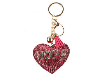 Hope Pink Heart Tassel Bling Faux Suede Stuffed Pillow Key Chain Handbag Charm