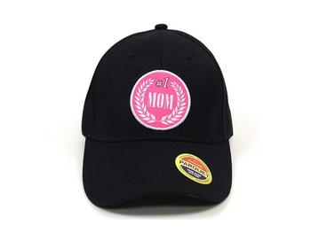 #1 Mom Black Embroidered Baseball Hat Cap w/ Adjustable Velcro Closure