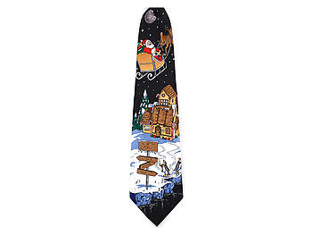 Boy's Black North Pole 100% Polyester Christmas Tie