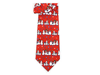 Boy's Red Snowmen 100% Polyester Christmas Tie