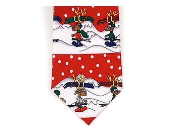 Boy's Red Reindeer 100% Polyester Christmas Tie