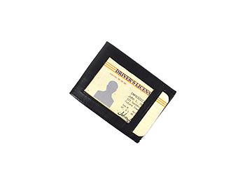 Black Leather Magnetic Money Clip With Credit Card Slot & ID Window