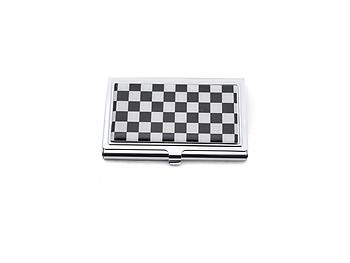 Black Checker Rhinestone Accented Matching Mirror & Card Case Set