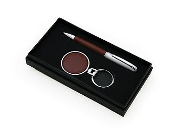 Brown Boxed Pen & Key Chain Set